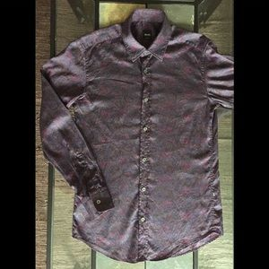 Hugo Boss Paisley Shirt Slim Fit Purple Small